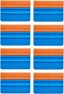 EEFUN Durable Suede Felt Edge Squeegee 4 Inch Car Vinyl Film Wrapping Squeegee Window Tint Working Tool, Professional Scratch free Squeegee,Pack of 8