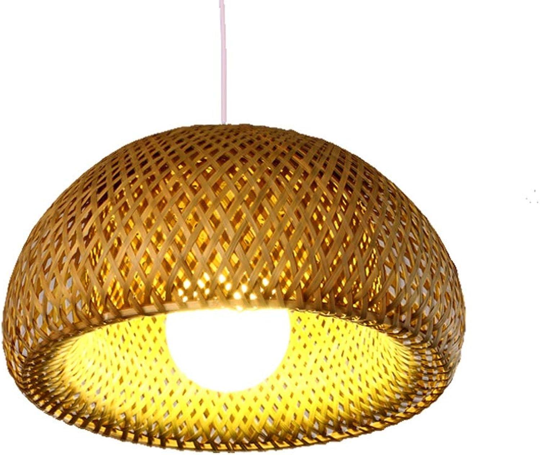 American Pastoral Kronleuchter, Retro Einfache Handgewebte Bambus Deckenleuchte, E27 Lampenfassung Massivholzsockel, für die Dekoration Restaurant Schlafzimmer Nacht Showroom (30 cm  17 cm)