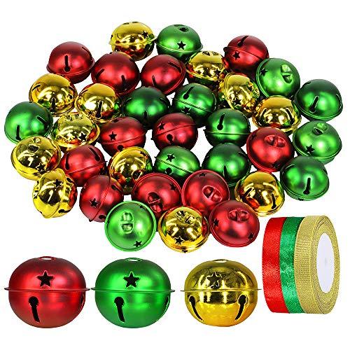 Winlyn 36 Pcs Assorted Christmas Sleigh Bells 2' Red Green Gold Metallic Jingle Bells Craft Bells for Xmas Holiday Tree Wreath Garland Hanging Ornaments Craft Bowl Vase Decor Seasonal Embellishments