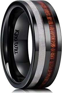 Nature 8mm Antlers & Wood Inlay Black Ceramic Mens Wedding Ring Flat Style