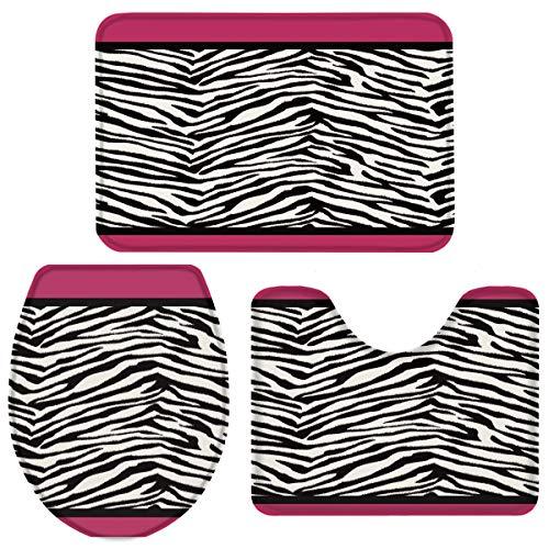 Vandarllin Animal Zebra Print 3 Piece Plush Bathroom Rugs Set-Non Slip Water Absorbent Shower Bath Mats U-Shape Contoured Toilet Mat Lid Cover 18''x30''+14''x18''+15''x18'' Black White Pink