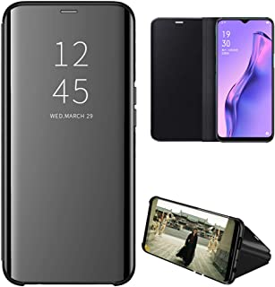 OPPO A31 Case, EabHulie Mirror Plating Hard PC +PU Leather Semi-transparent Standing View Case Cover for OPPO A8 / A31 Black