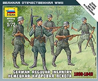 Zvezda #6178 1/72 Scale Unpainted Miniature Figure - German Regular Infantry