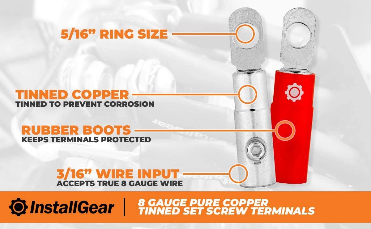 InstallGear 4 Gauge Tinned Pure Copper Set Screw Ring Terminals 4-Pack