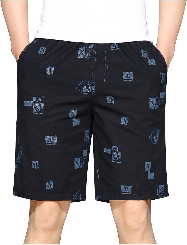 Men's Summer Casual Shorts Knee Length Relax Fit Sports Shorts Elastic Waist Print Pockets Home Short Pants - Limsea