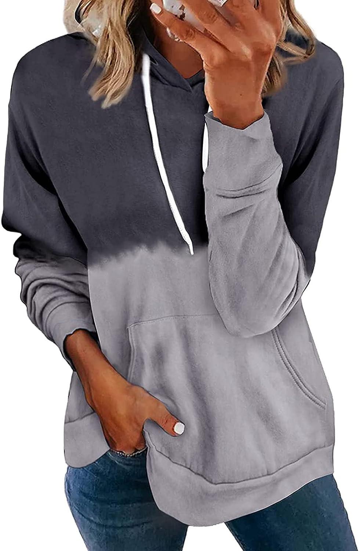 TAYBAGH Hoodies for Women,Womens Teen Girls Color Block Hoodie Casual Loose Pullover Sweatshirt Long Sleeve Blouse Tops