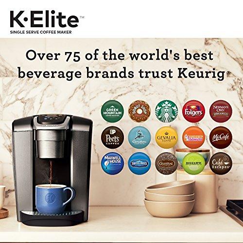 Keurig K-Elite Coffee Maker, Single Serve K-Cup Pod Coffee Brewer, With Iced Coffee Capability, Brushed Slate