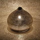 Orientalische Lampe aus Messing Sues D22 Silber in Tropfenform mit E14 Fassung | Echt versilberte...