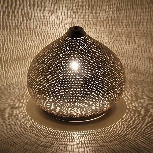 Casa Moro Orientalische Tischlampe Sherin D28 Silber in Tropfenform mit E27 Fassung | echt versilberte Lampe aus Metall | marokkanische Nachttischlampe wie aus 1001 Nacht