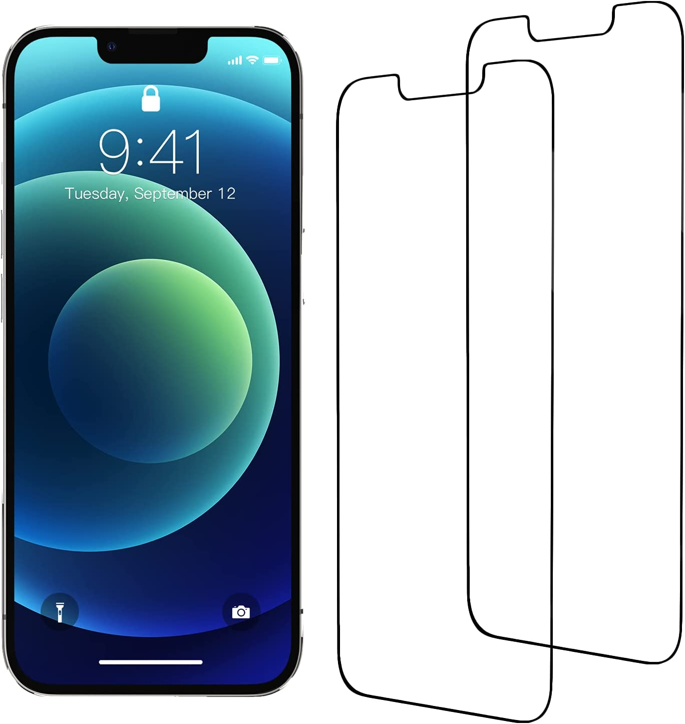 2 Pack Glass Screen Protector,xiwxi Compatible with iPhone 13 Screen Protector/iPhone 13 Pro Screen Protector Tempered Glass Film 6.1 inch