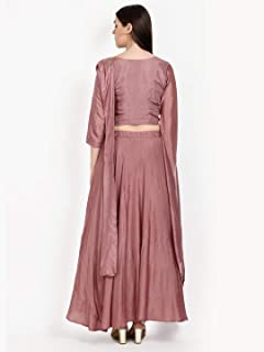 Women's Two Piece Dress in Silk and Georgette Sand Red