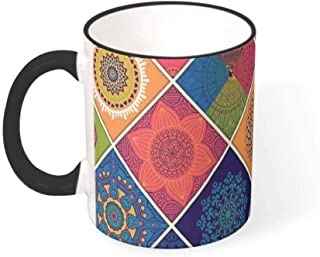 FUNcupshop Funny Ceramic Coffee Mugs Colorful Mandala Flower Geometry Artwork Print White Tea Cups Fantasy Drinking Cups Coffee Shop Birthday Gift Mug/Cups