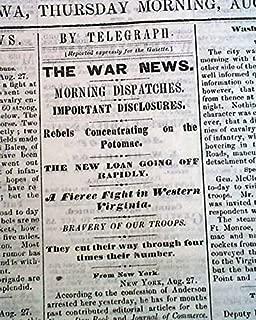 Rare DAVENPORT Iowa Civil War Battle of Kessler's Cross Lanes 1861 Old Newspaper DAVENPORT DAILY GAZETTE, Iowa, August 29, 1861