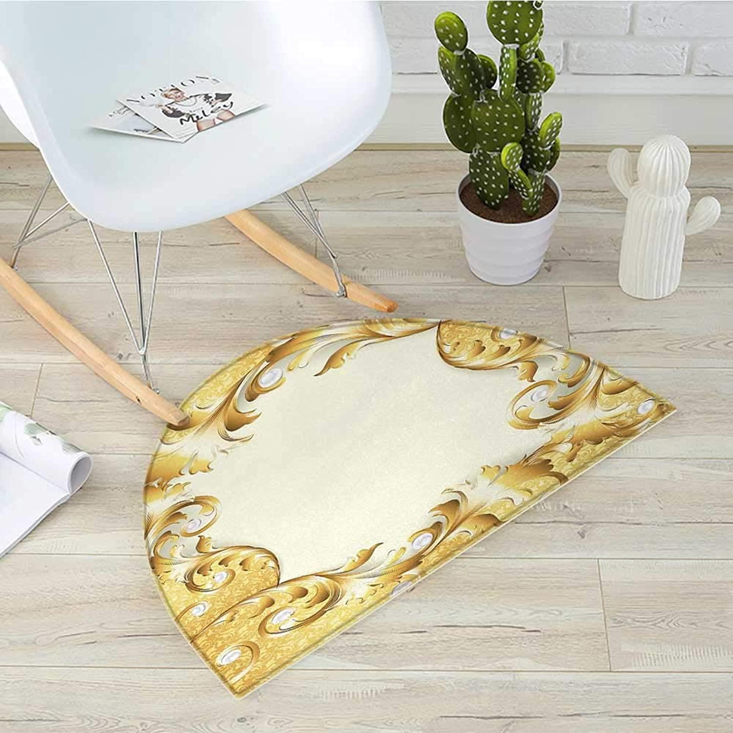 Pearls Semicircle Doormat Illustration of a Frame with Ornaments and Pearls Baroque Style Floral Patterns Halfmoon doormats H 43.3  xD 64.9  Cream Yellow