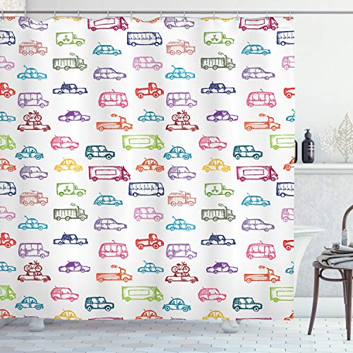 ABAKUHAUS Autos Duschvorhang, Verschiedene Fahrzeuge Bus LKW, mit 12 Ringe Set Wasserdicht Stielvoll Modern Farbfest & Schimmel Resistent, 175x200 cm, Mehrfarbig