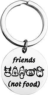 Sponsored Ad – KUIYAI Vegan Gift Vegetarian Gift Animal Lover Gift Animal Rescue Gift Friends Not Food Vegan Keychain