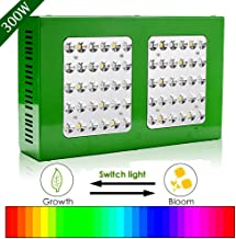 Hengda - Lámpara LED para plantas, espectro completo, interruptor doble, serie 3 tipos de modos, lámpara de cultivo para plantas de interior, 300 W, 60 ledes