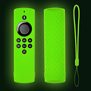 Glow Remote Cover Replacement for TV Stick Lite 2020, Silicone Protective Case with Lanyard (Lime Green)