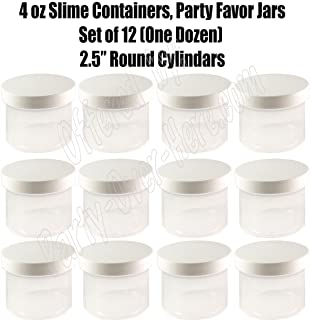 Slime Containers, 4 oz, DIY Empty Candy Party Favor Jars + White Lids (12 pcs), place your own 2.5