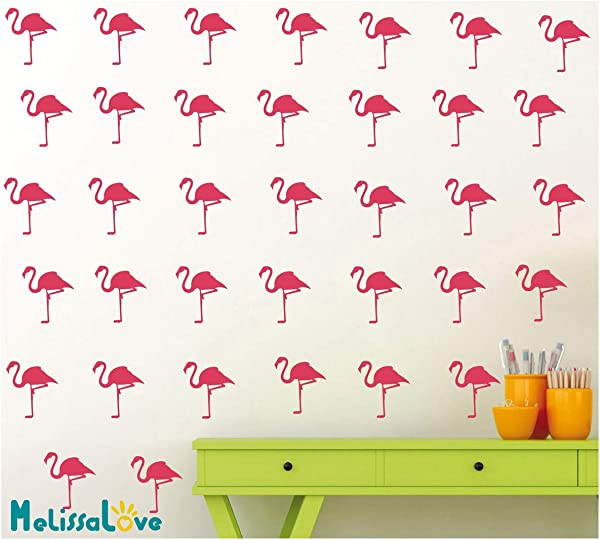 Melissalove 36pcs Set Flamingo Wall Pattern Decal Sticker Vinyl DIY Wall Stickers For Kids Room Nursery Baby Wall Art Decal Mural YA362 Hot Pink