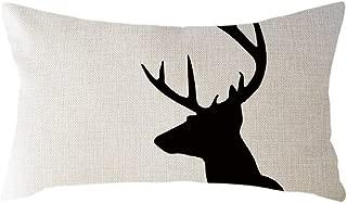Wakeu Deer Head Rectangle Pillowcase 12X20 Antlers Throw Pillow Cover Cotton Linen Lumbar Pillow Case Home Office Sofa Season Decorative