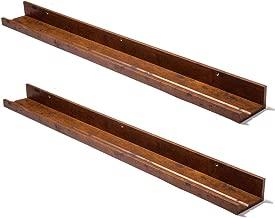 Muzilife Floating Picture Ledge Display Shelves Decorative Wall Mounted Shelf Home Decor (45.3 Inches Length, Set of 2, Honey)