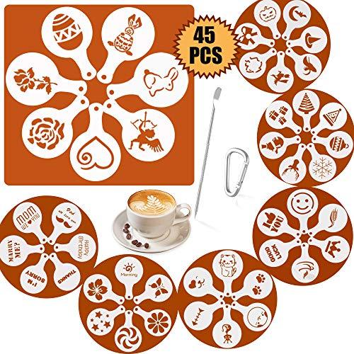SOSMAR 45 Muster Cappuccino Kaffee Dekorieren Schablonen - für Ostern/Weihnachten/Halloween/Liebe/Tiere/Kurze Wünsche Sprüche - Schaum Latte Art Barista Dekoration Vorlage