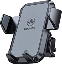 VANMASS Car Phone Holder, Adjustable Cell Phone Mount, Universal Air Vent Cradle with One Button Release, Sturdy 2 Level Clip, Full Silicone Protection, Compatible 3.5