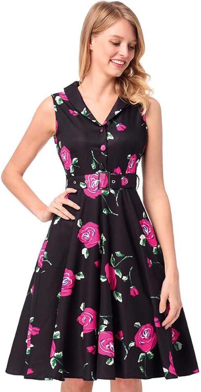 Women Lapel Sleeveless High Waist Floral Swing Dress Sweet colormatch Hepburn Style Button Belt A Line Skirt OL Casual Dress Party Dre Eu Size Sxxl