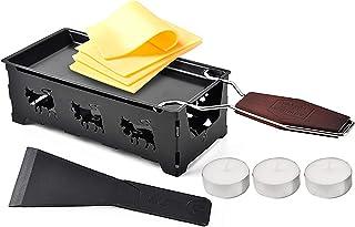 Gril à raclette pour fondeur à fromage, Moule à fromage avec spatule en silicone Mini Rotaster antiadhésif,Noir