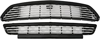 Grille Compatible With 2015-2017 Ford Mustang | CS Style ABS Silver Front Bumper Grill Hood Mesh by IKON MOTORSPORTS | 2016