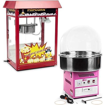 Royal Catering Kit Machine À Popcorn Et Machine À Barbe À Papa RCPR-16E-SET (1 600 W + 1200 W, Popcorn 5 – 6 kg/h, 12-18 g Barbe À Papa en 30s, Allure Rétro, Coupole de protection)