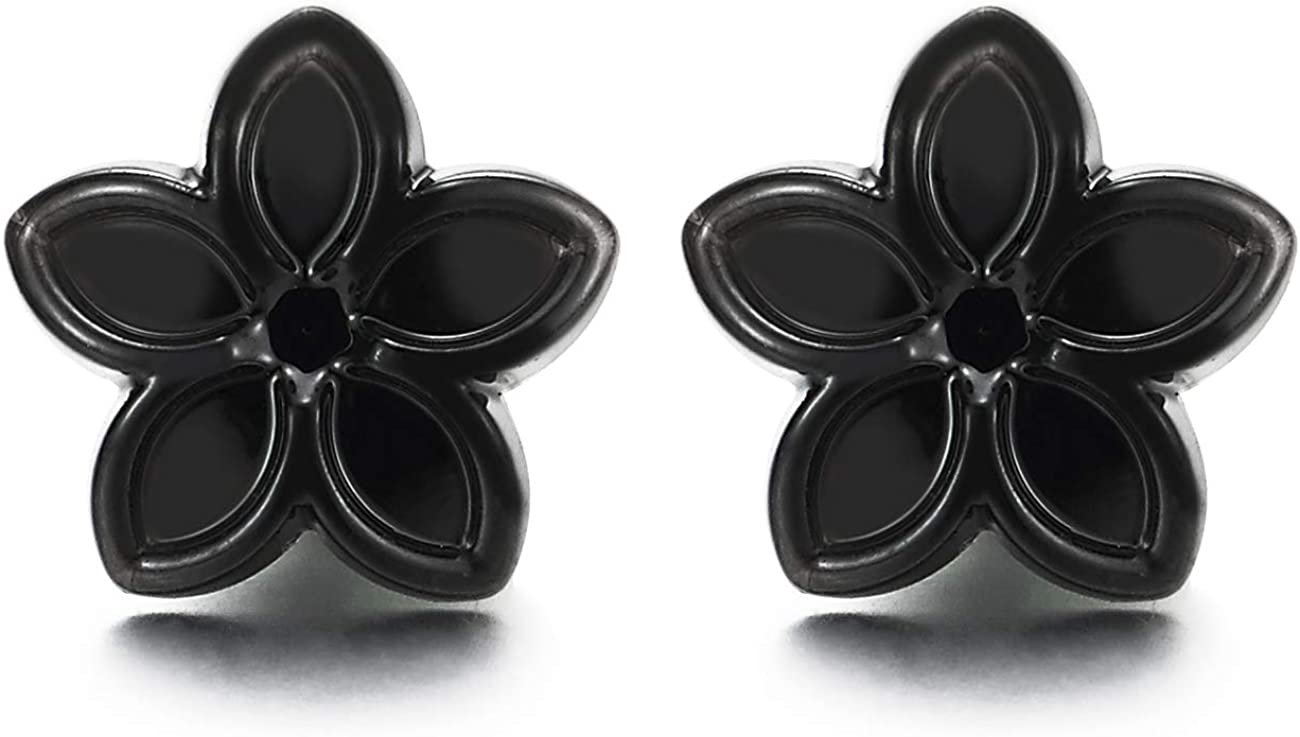 Womens Black Magnetic Star Flower Stud Earring, Non-Piercing Clip On Fake Ear Plugs