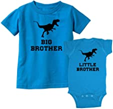 We Match! Big Brother Dinosaur T-Rex & Little Brother Dinosaur T-Rex Matching Kids T-Shirt & Bodysuit Set