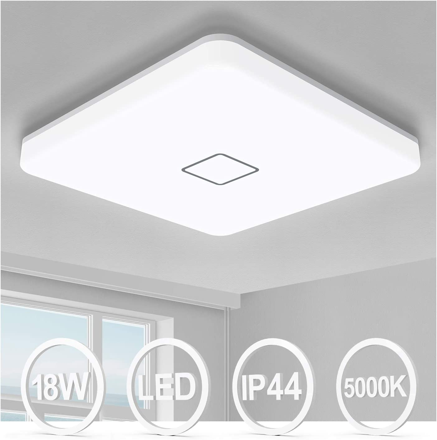 Airand 18W LED Ceiling Light, 10.6 inch Square 1800lm Ceiling Light Fixture Flush Mount, 5000K Waterproof IP44 Ceiling Lamp for Bathroom,Kitchen,Closet,Bedroom,Living Room,Hallway,Office, and More
