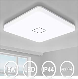 Plafonnier LED 18W Öuesen 5000K Blanc Froid Plafonnier Salle de Bains Luminaire Lampe de Plafond 1800LM, Étanche IP44 Lumi...