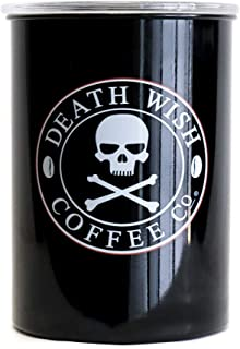 Death Wish Coffee Airtight Canister - Stainless Steel and Vacuum Sealed for Coffee Storage and Freshness (16 Oz)