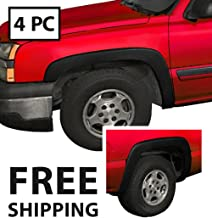 MAXMATE Premium Fender Flares for 1999-2006 Chevy Silverado/GMC Sierra (Incl. 2007 Classic Models) | Fine-Textured Matte Black Paintable Factory Style 4pc