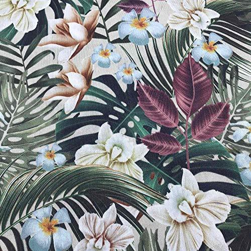 Kt KILOtela Tela de loneta Estampada Digital - Retal de 100 cm Largo x 280 cm Ancho | Botánico, Tropical - Granate, Verde, Azul ─ 1 Metro