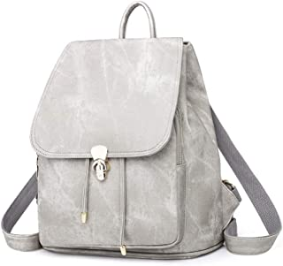 Daypacks Women Backpack Purse Rucksack Lightweight Lady School Shoulder PU Leather Tote Bag Womens Backpack (Color : Gray)