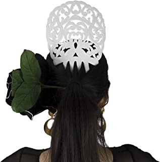 Ole Ole Flamenco Comb for Hair White Flamenco Dancer Spanish Combs Peineta Flamenco Blanca Ornamental Hair Pins