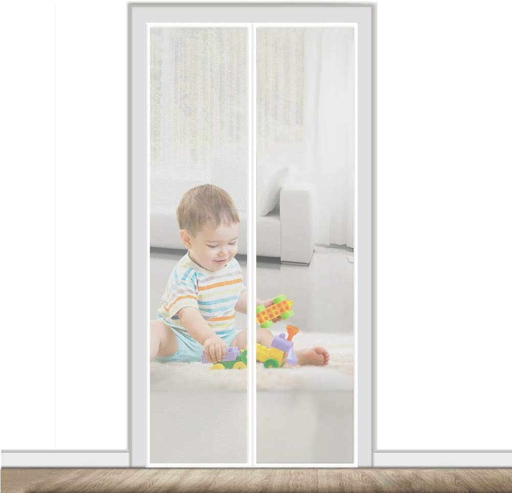 Magnetic Door Screen White Free 70x78inch Hands New popularity Special price