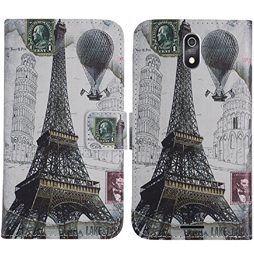 TienJueShi Eiffelturm Flip Stand Brief Leder Tasche Schütz Hülle Handy Handy Hülle Für TP-Link Neffos C7 Lite 5.45 inch Abdeckung Wallet Cover Etüi