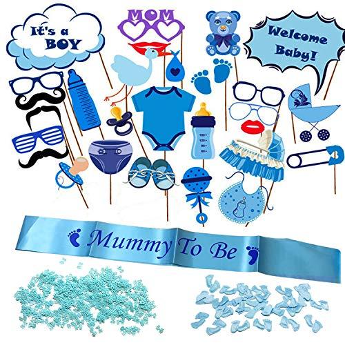 Allazone 30 Stück Babyparty Fotorequisiten Junge, Baby Shower Fotoaccessoires, Mummy to Be Satin Schärpe Babyparty Baby Shower Masken Foto Booth Props fur Baby Party (Blau)