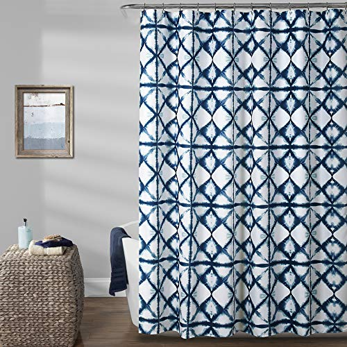 "Lush Decor, Navy Geo Shibori Shower Curtain, 72"" x 72"""