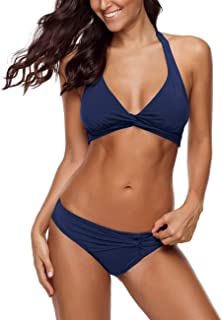 Women's Halter Self Tie Twist Knot Ruched Two-Piece Bikini Set Swimsuit