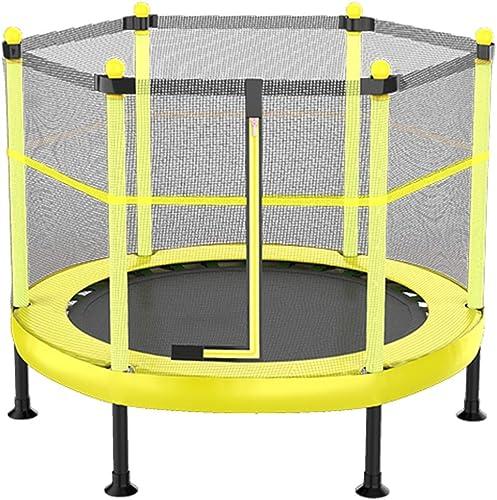 CHENHS-Trampoline de Sport pour Enfants Filet de Prougeection Jardin intérieur Pliable pour 2 Enfants, Trampoline 6 Angles 2 Couleurs (Couleur   jaune, Taille   120x121cm)