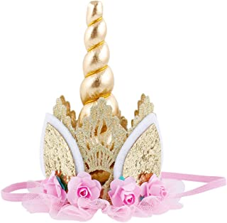 Unicorn Birthday Flower Lace Crown Headband with Gold Horn for Photography Prop