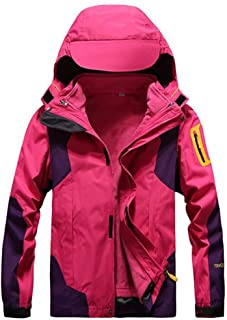 FYXKGLa Ladies Jackets Detachable Outdoor Cold Climbing Clothing Two-Piece Windproof Jacket (Color : Rose, Size : L)