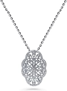 Rhodium Plated Sterling Silver Cubic Zirconia CZ Flower Art Deco Filigree Wedding Pendant Necklace